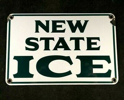 Vintage NEW STATE ICE SIGN PORCELAIN Rare Old Advertising 1950s