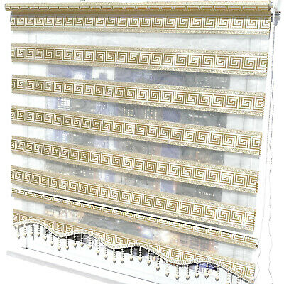 "Double Roman Blind Duo Shade Roller "" Gold Glitter "" Clamp Fix Curtain"