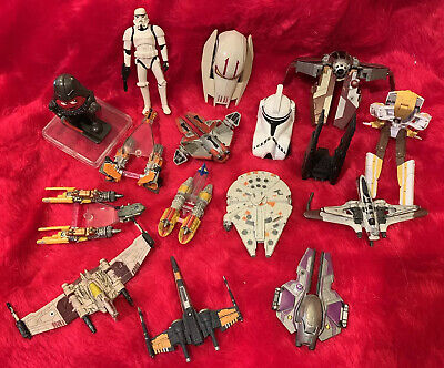 Lot 16 Pcs. STAR WARS Transforming Ships, Figures, Other - See Photos