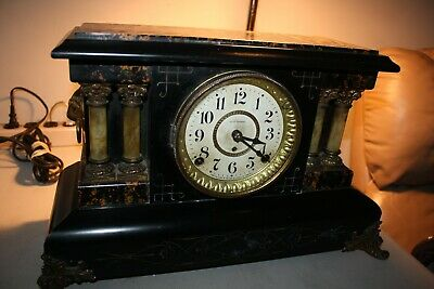 Antique Seth Thomas 4 column  Adamantine Mantle Clock, Runs Strong,bell/chimes