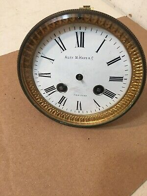 Antique French Mantle Clock Movement & Dial Japy Marti Era Alex Hayes Retailer