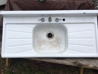 Vintage Porcelain Cast Iron Farmhouse Sink, Single Basin, Double Drainboard