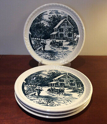 Royal China Currier & Ives Blue Dessert/Pie Plates Rope Edge - Set of 4