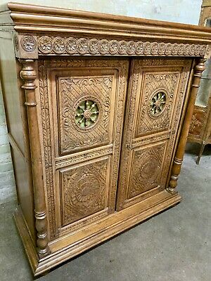 Large Antique French Style Carved Oak Cabinet . Delivery Available Most Areas