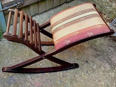 vintage mid century wooden rocking footstool W30cm fire resistant tag col NN9