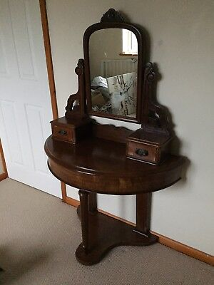 Antique 19th C Mahogany Mirrored Dressing Table Side Table with Drawers