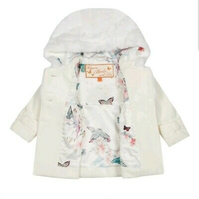 Ted baker baby girls off white faux fur coat / jacket with sizes. BNWT