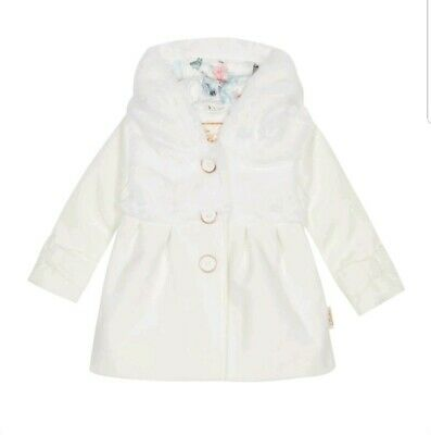 Ted baker Girls off white faux fur coat / jacket with sizes. BNWT
