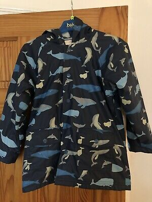 Hatley Boys Girl Whale Design Raincoat Age 7 Lined Excellent Condition With Hood
