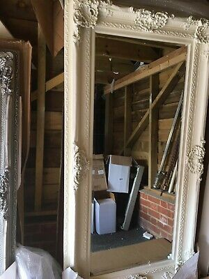 Beautiful Large heavy, orrnate off white wall or floor mirror or silver, gold