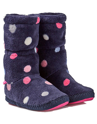 Joules Junior Padabout Girls Slipper Sock - Navy Multi Spot
