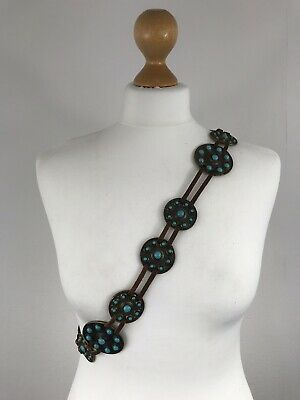 Vintage Leather & Metal Chain Link Disc Grecian Roman Hip Waist Belt Turquoise L