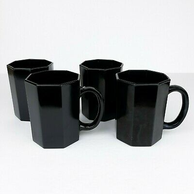 Arcoroc Octime Black Octagon Glass Mug Cup Made In France Lot 4