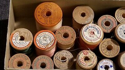 Wooden Thread Spools  Belding Lily Star Clark advertising sewing