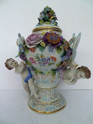 "Antique 1918 Sitzendorf Dresden porcelain vase urn cherubs putti 12"" x 10"" mint"