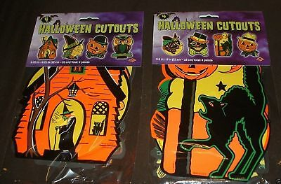 8 Vintage Halloween Decorations PACKAGED RETRO Styled BEISTLE Repro Die-cut outs
