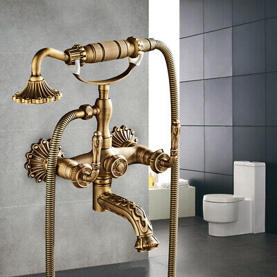 Wall Mount Retro Antique Brass Waterfall Bathroom Tub Faucet Hand Shower Luxury