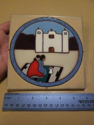 "Cleo Teissedre Hand Painted 6""x6"" Ceramic Tile Trivet mission theme"