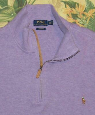 Mens Polo RALPH LAUREN Purple Cotton 1/4 Zip Estate Rib Sweater 2XLT