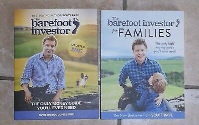 2 BOOKS - THE BAREFOOT INVESTOR for FAMILIES, Scott Pape    2017 & 2018