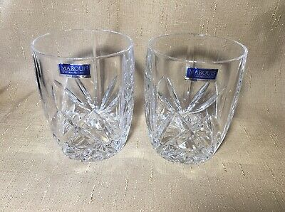 Marquis Waterford Crystal Brookside Set 2 Double Old Fashioned Whiskey Glass NWT
