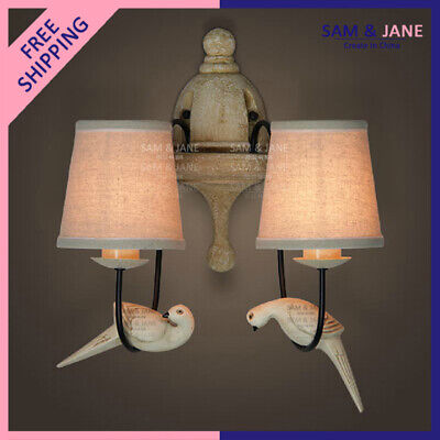Double Sconce Night Light Fabric Bird BISTRO Wall Lamp Vintage French LED