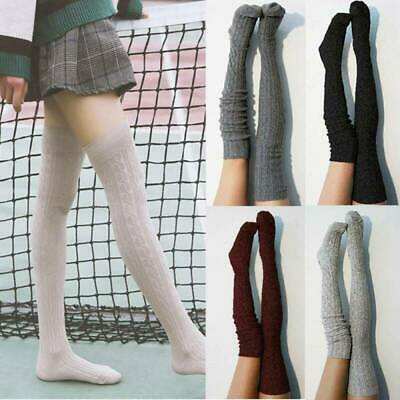 Women Cable Knitted Long Boot Socks Over Knee Thigh High School Girls Stocking