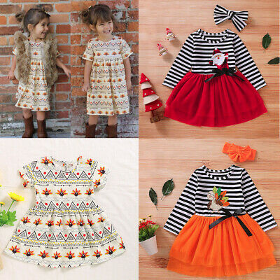 Christmas Toddler Baby Girls Santa Striped Print Tulle Dress+Headband Outfits