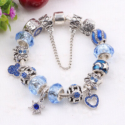 Authentic Pandora Charm Bracelet Silver with Crystal Heart Beads European Beads