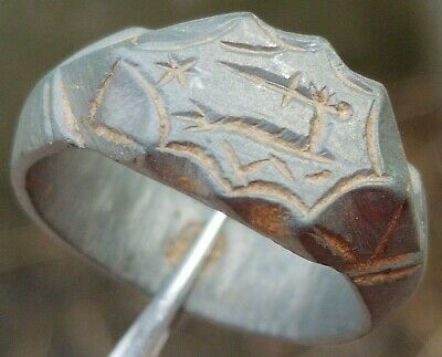 "CRUSADERS SERBIA KNIGHT "" HAND WITH SWARD "" Bronze RING VIII-X AD"