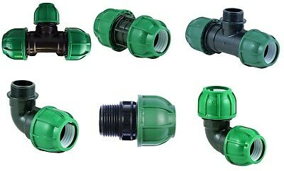 Irrigation Compression Fitting 50mm Elbow Coupler Tee MDPE water pipe male femal