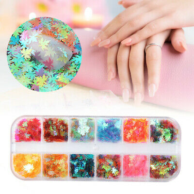 12-boxes Boxed Nail Art Glitter Sequins Autumn Maple Leaf Color Nail Holographic