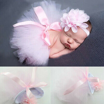 FP- Newborn Toddler Baby Girl Tutu Skirt Flower Headband Photo Prop Costume Outf