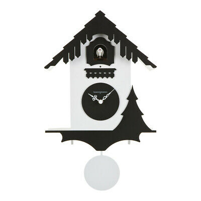 CHALET white / black Cuckoo Clock Swiss house reinterpreted in a modern style