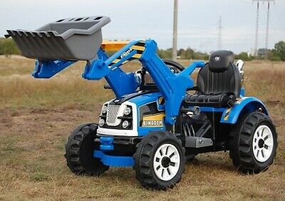 12V Tractor with Loader KINGDOM Kids Electric Ride On Battery Blue