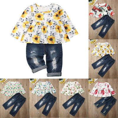 AU 2PCS Toddler Kids Baby Girl Winter Floral Tops + Denim Pants Outfits Clothes