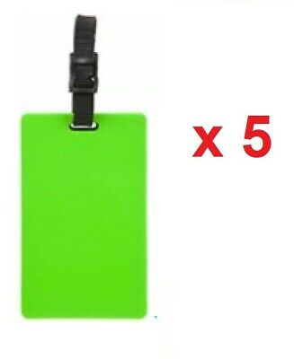 5 x GREEN SILICONE NEON MAKE YOUR OWN LUGGAGE TAGS TRAVEL BAG IDENTITY