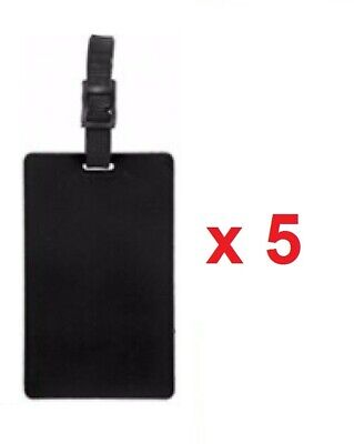 5 x BLACK SILICONE NEON MAKE YOUR OWN LUGGAGE TAGS TRAVEL BAG IDENTITY