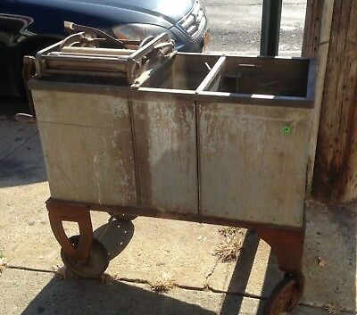Antique Steel Mop Wringer Industrial Janitorial Rare 3 Compartments Table