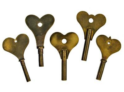 Antique HEART BOW Fusee Clock Key x 5 Brass Keys Job Lot - All Different Sizes