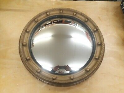 Vintage Regency Style Gilded Round Convex Wall Mirror. Ribbons & Balls