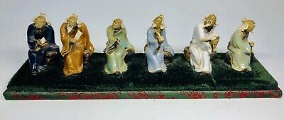Set of 6 Antique 1920s Chinese Hand-Painted Mud Figures Seated Wise Men Elders