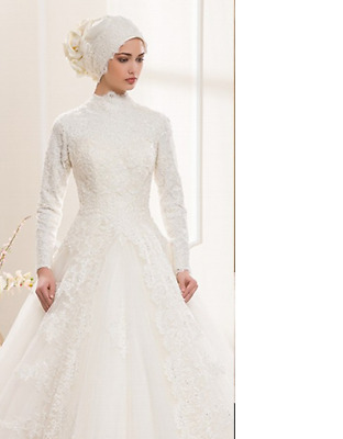 B418 Made Ivory Long Sleeves Ball Gown Muslim Wedding Party Dress All Size O