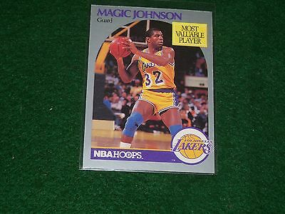 """earvin """"magic"""" johnson (la lakers) 1990/91 hoops most valuable player card #157"""