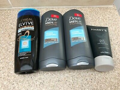 Men's Toiletries, Dove Body-wash x 2 , Harry's Face wash & L'OREAL elvive for me