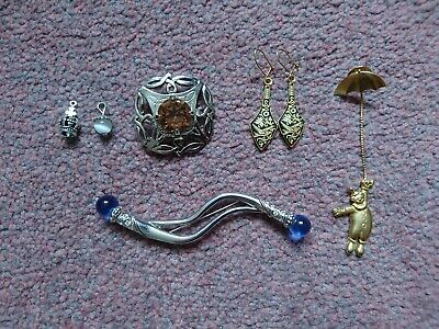 Bundle Of Jewellery Broaches, Earrings from Egypt, Charms. Scottish broach