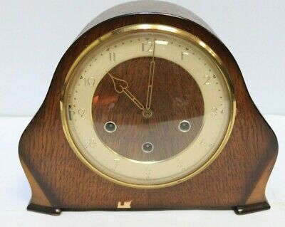 Vintage Smiths Westminster Chiming Mantel Clock with Key and Pendulum - 203