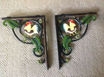 2 Old Rooster Shelf Brackets Cast Iron Rustic Antique Style Barn Bird Chickn/Hen