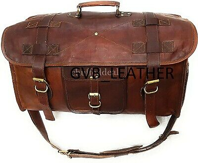 Men's Leather Duffel Holiday Overnight Carry-On Air Cabin Travel Luggage Gym Bag