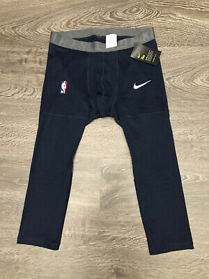 Nike Pro NBA Player Issue Basketball 3/4 Tights Pants Dri-FIT Navy AT9764-419